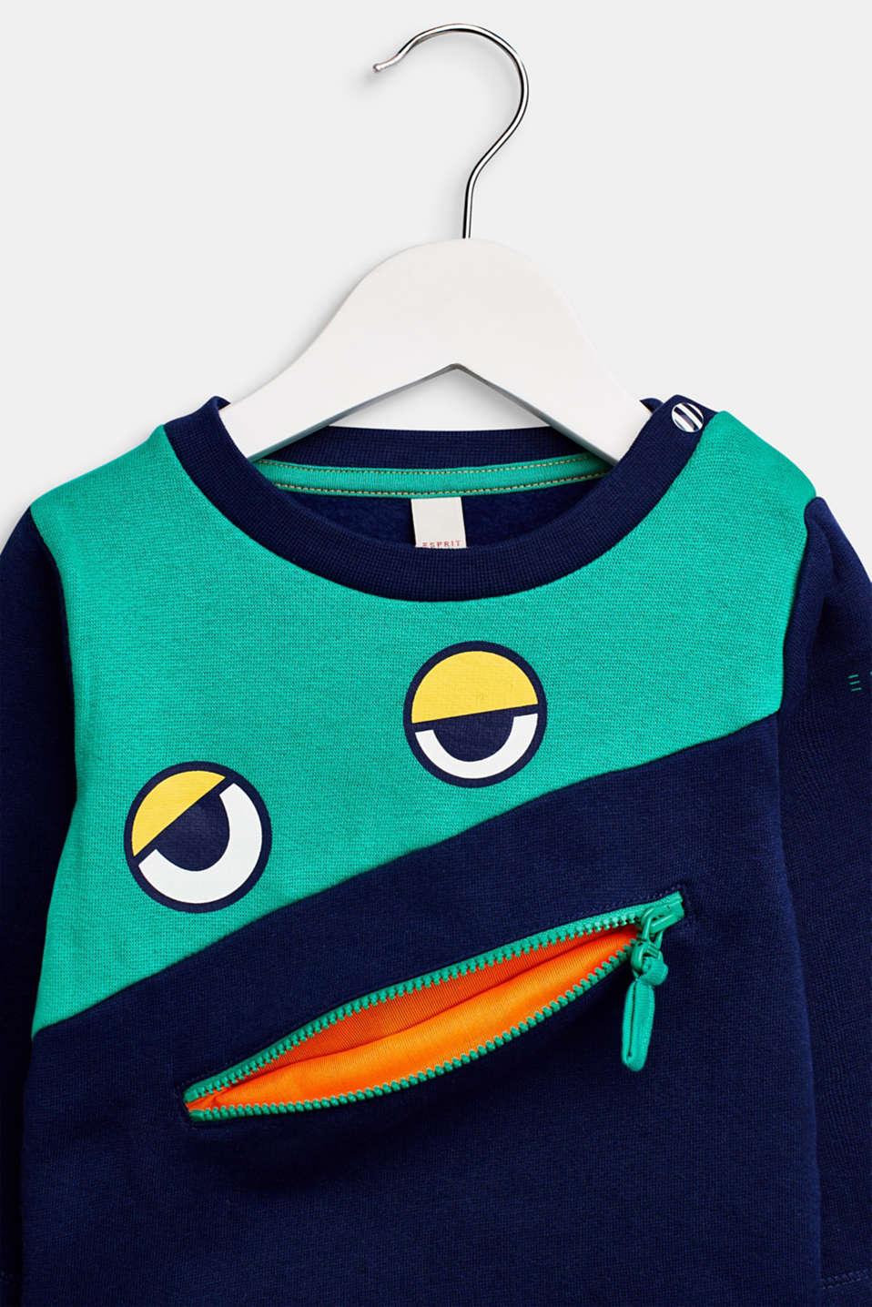 Sweatshirt with an eye print, LCMARINE BLUE, detail image number 3