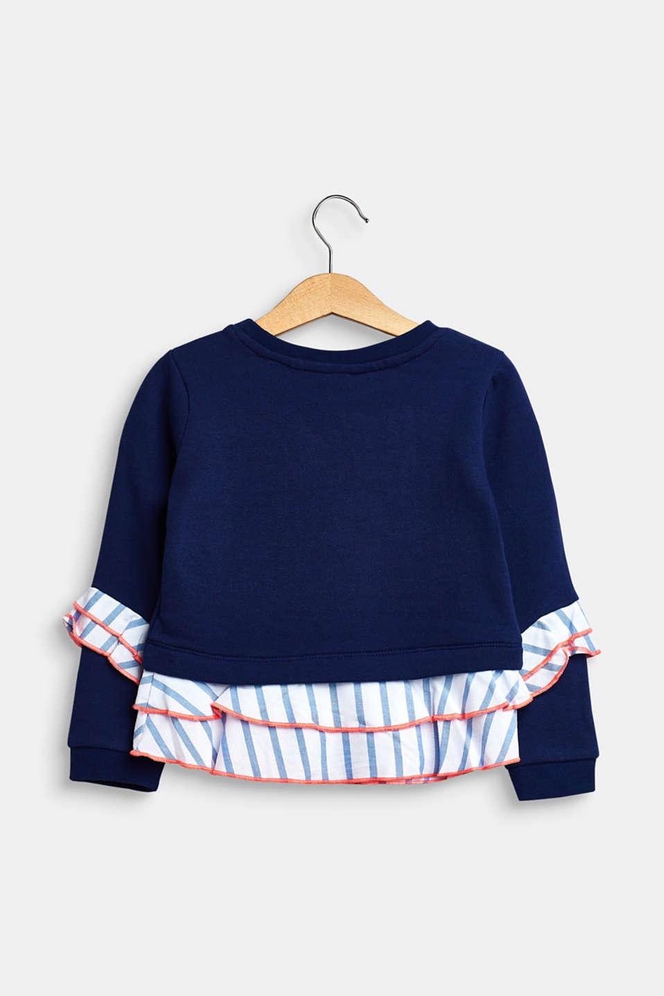 Frilled sweatshirt, 100% cotton, MARINE BLUE, detail image number 1