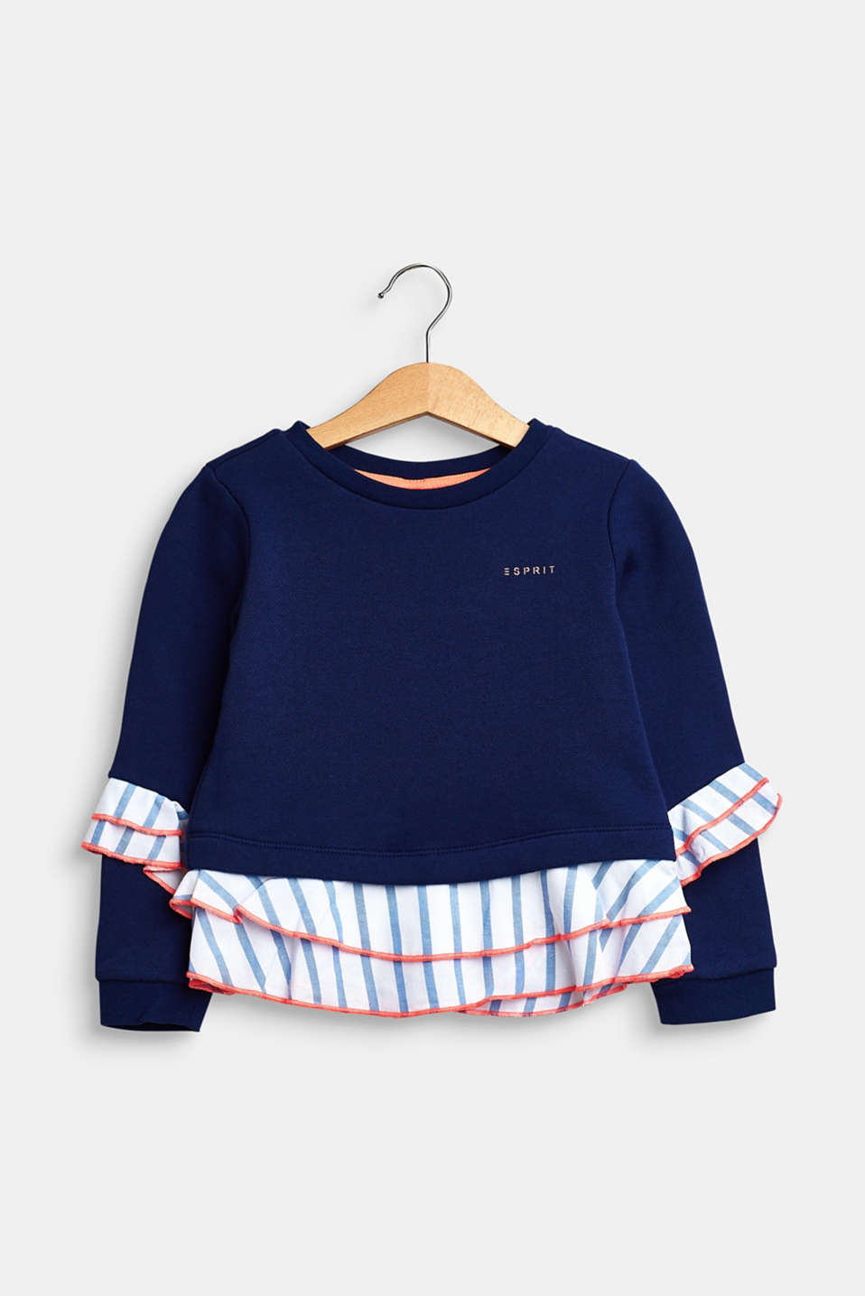 Esprit - Sweat-shirt à ruches, 100 % coton
