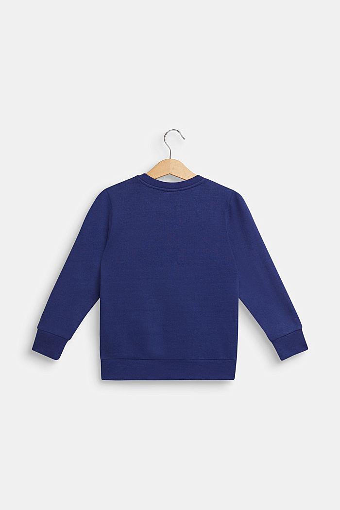 Sweatshirt med flockprint, 100% bomuld, MARINE BLUE, detail image number 1
