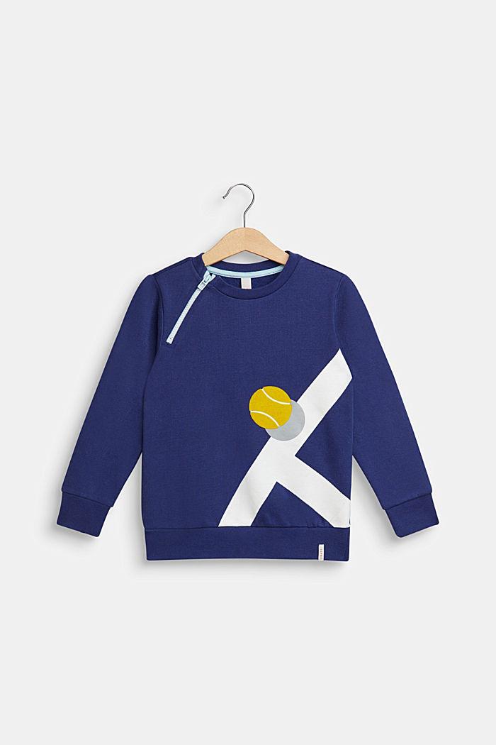 Sweatshirt med flockprint, 100% bomuld, MARINE BLUE, detail image number 0