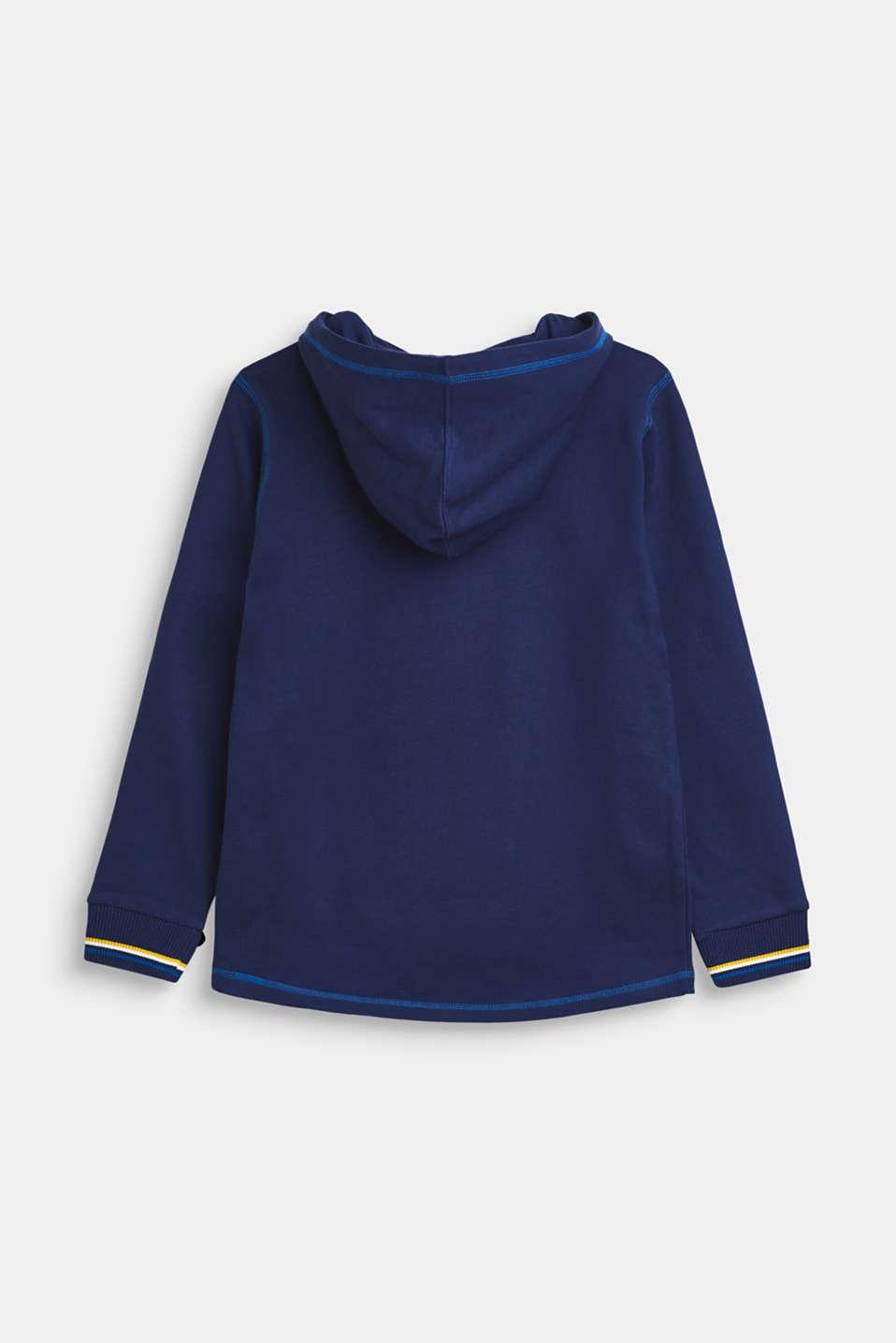 Sweatshirt hoodie with fleece lining, 100% cotton, LCMARINE BLUE, detail image number 1