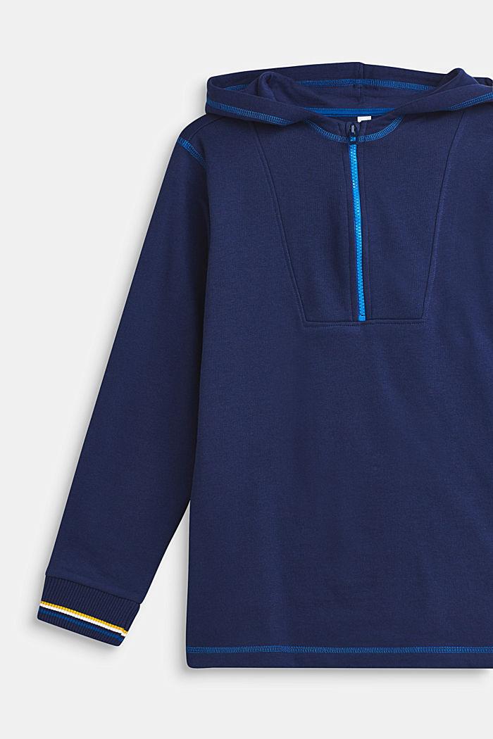 Sweat-hoodie med fleece-inderside, 100% bomuld, LCMARINE BLUE, detail image number 2