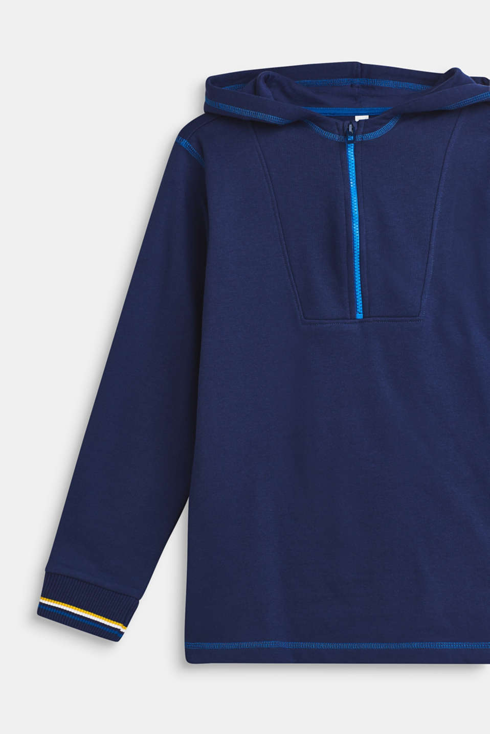 Sweatshirt hoodie with fleece lining, 100% cotton, LCMARINE BLUE, detail image number 2