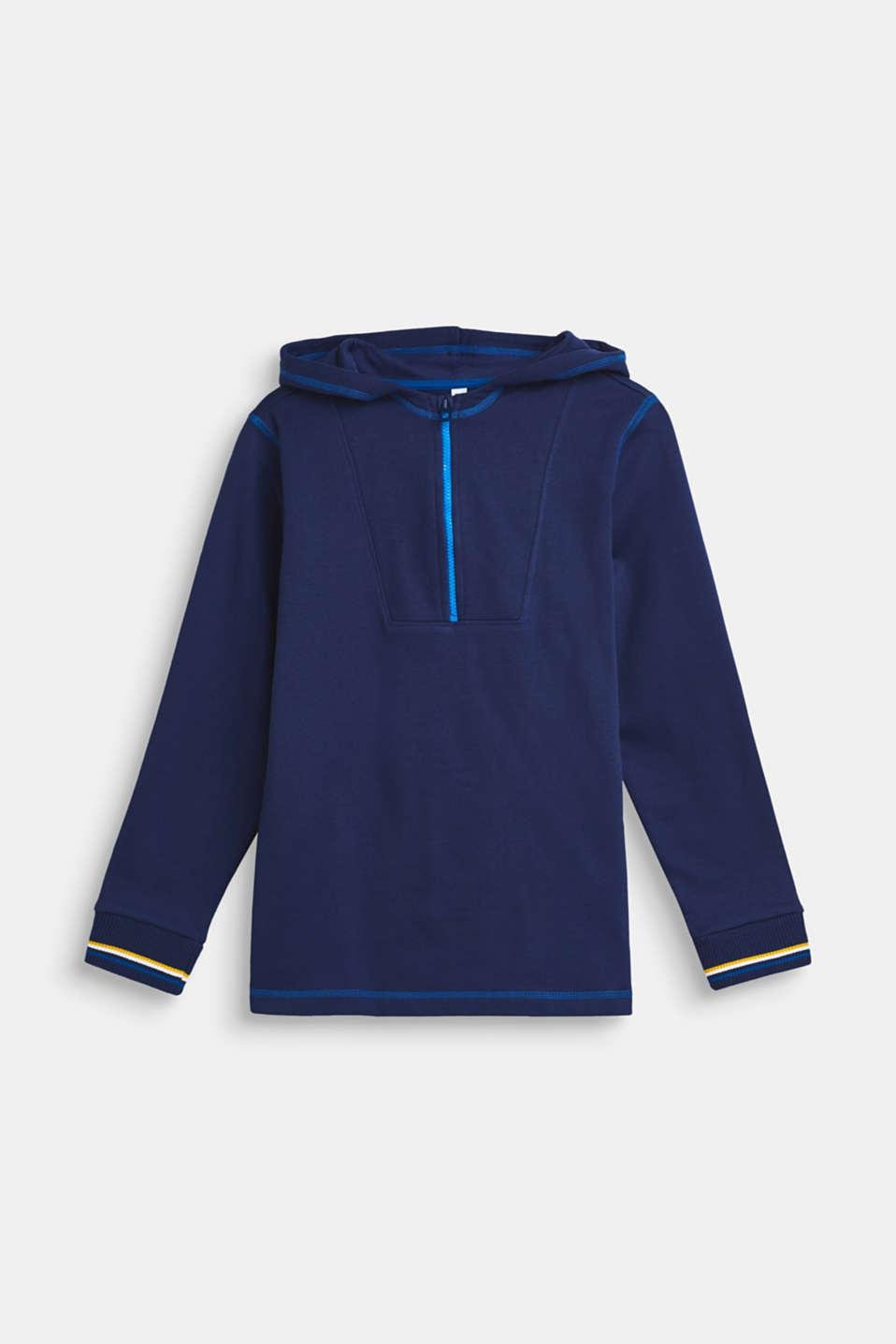 Sweatshirt hoodie with fleece lining, 100% cotton, LCMARINE BLUE, detail image number 0