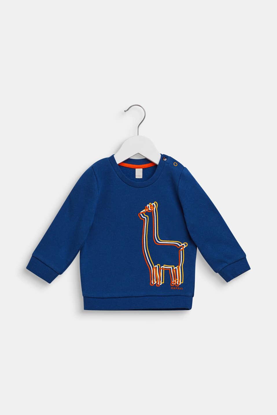 Sweatshirt with llama print, 100% cotton, LCINDIGO, detail image number 0