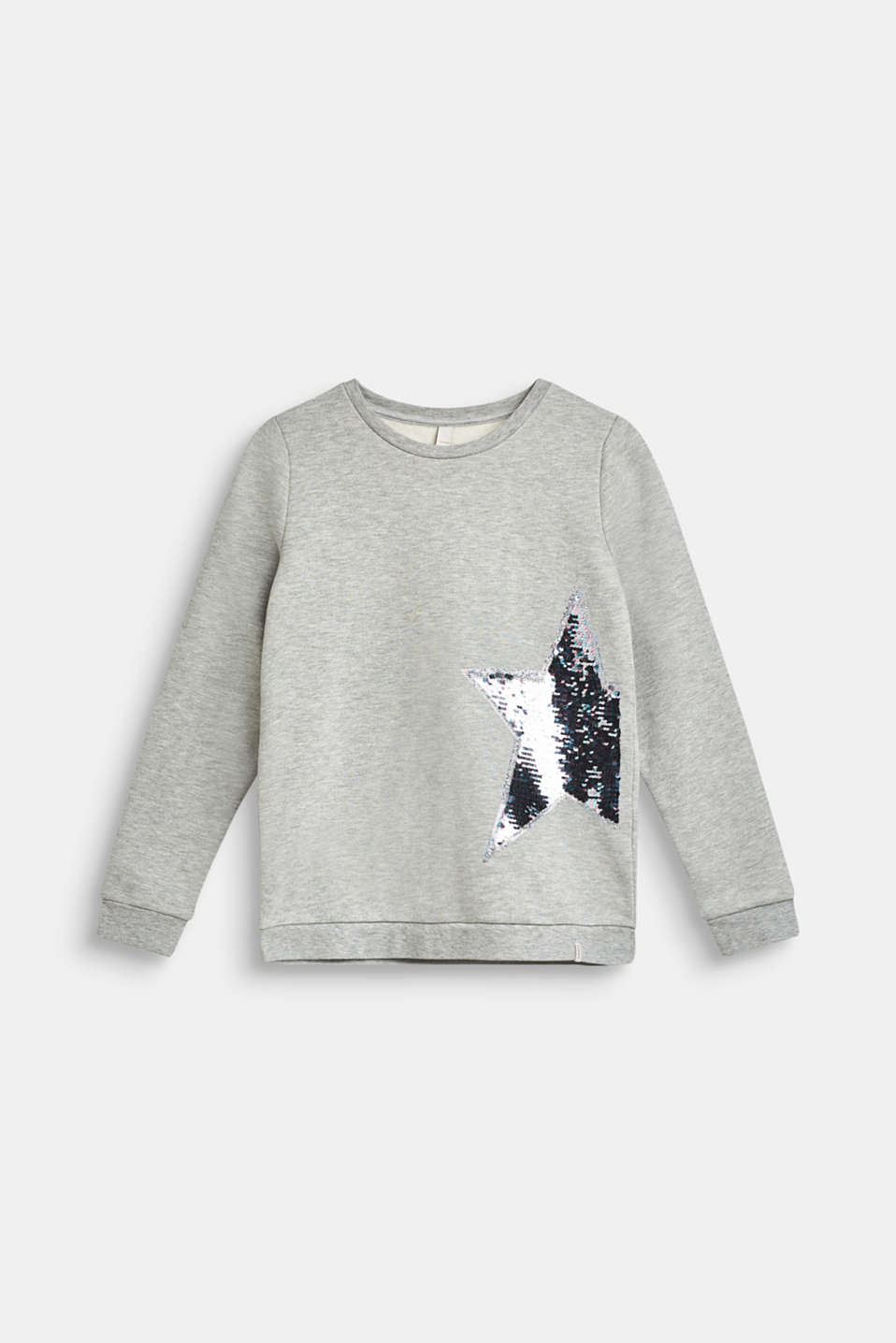 Melange sweatshirt with reversible sequins, LCHEATHER SILVER, detail image number 0