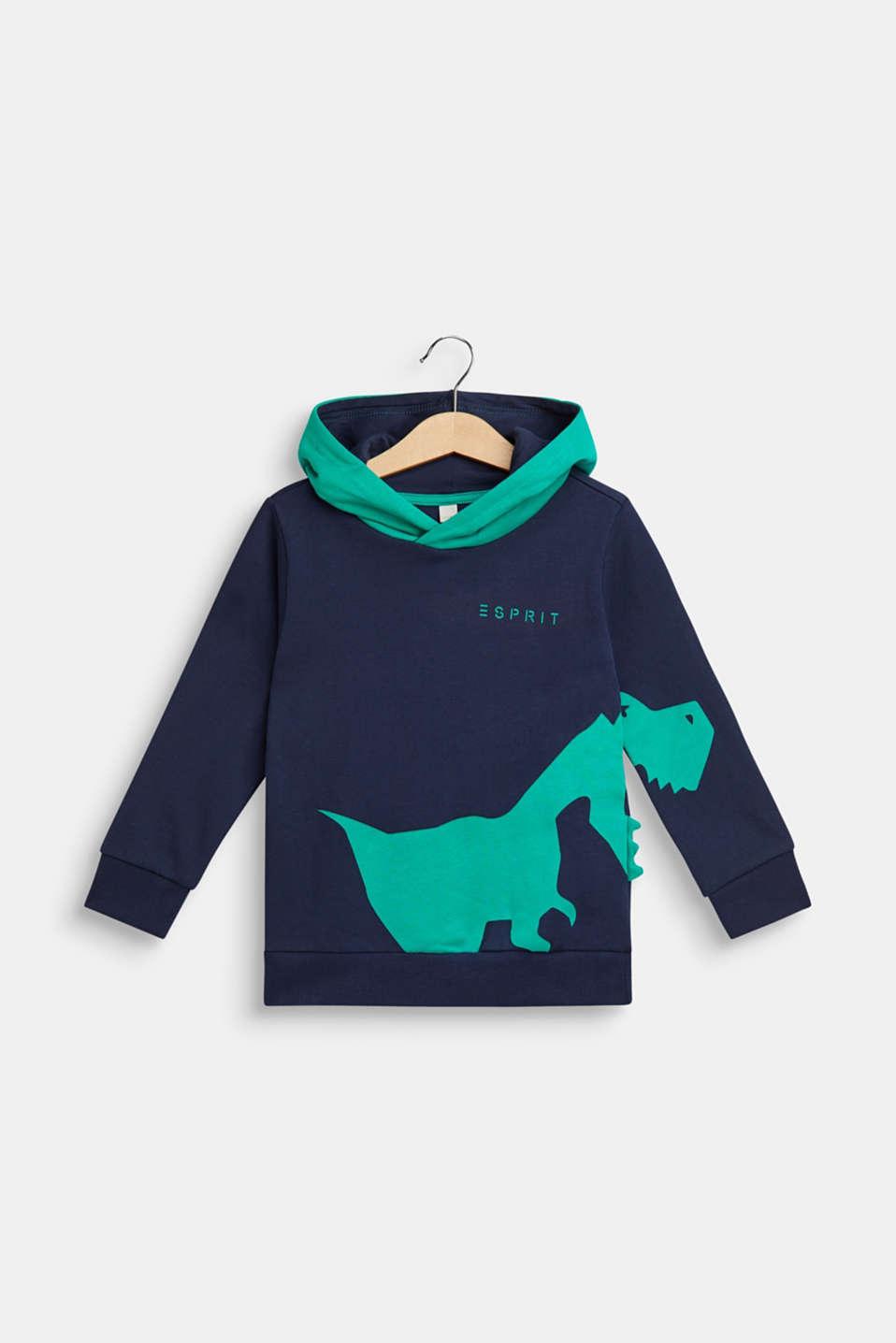Hoodie sweatshirt with dinosaur appliqué, NAVY, detail image number 0