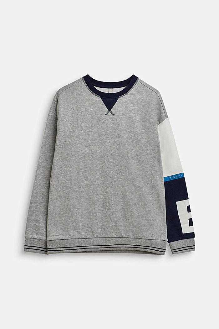Sweatshirt mit Kontrast-Ärmel, LCHEATHER SILVER, detail image number 0