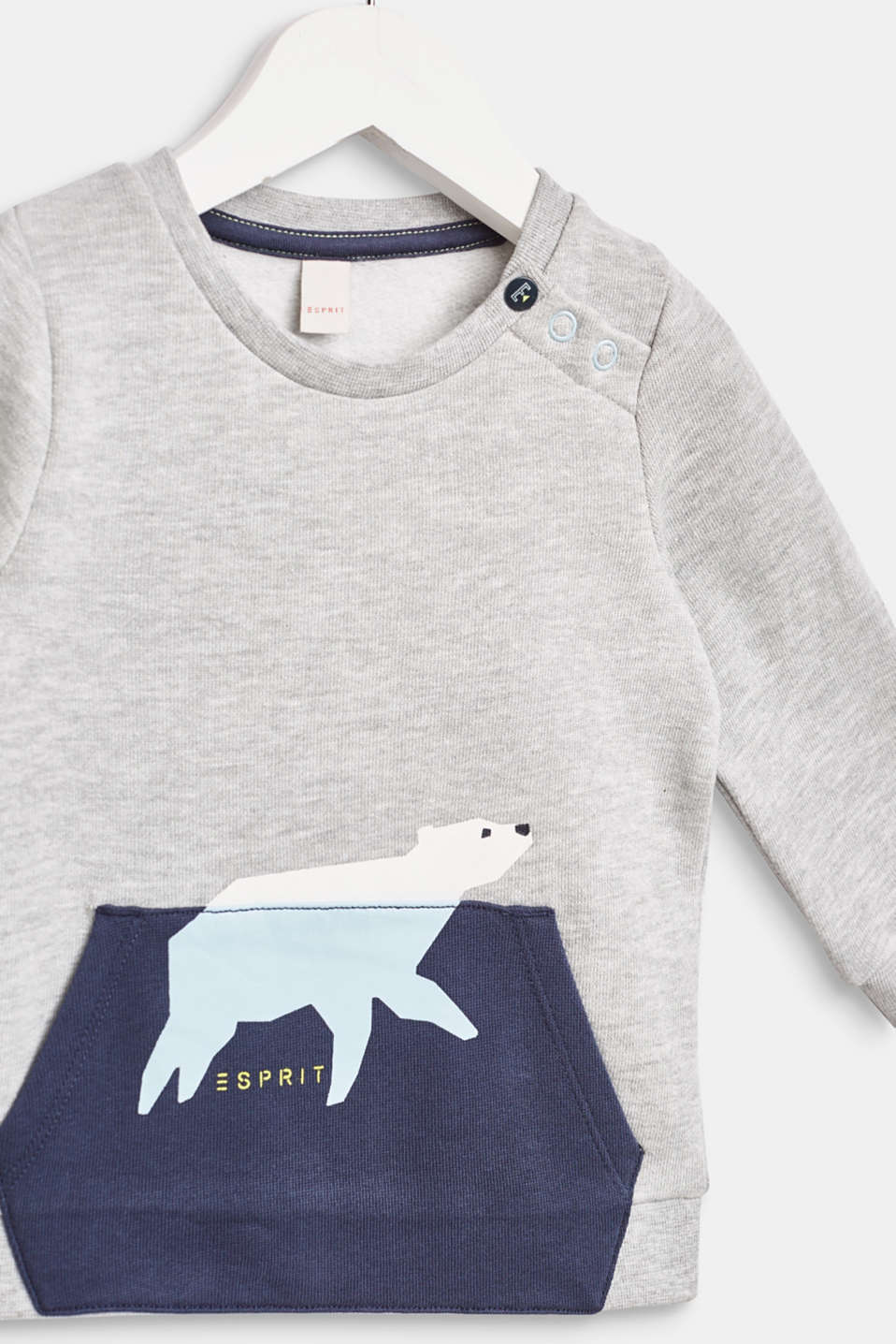 Sweatshirt with a polar bear print, LCHEATHER SILVER, detail image number 2
