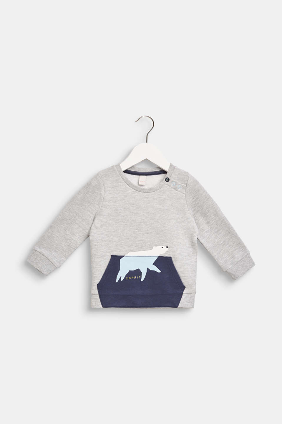 Sweatshirt with a polar bear print, LCHEATHER SILVER, detail image number 0