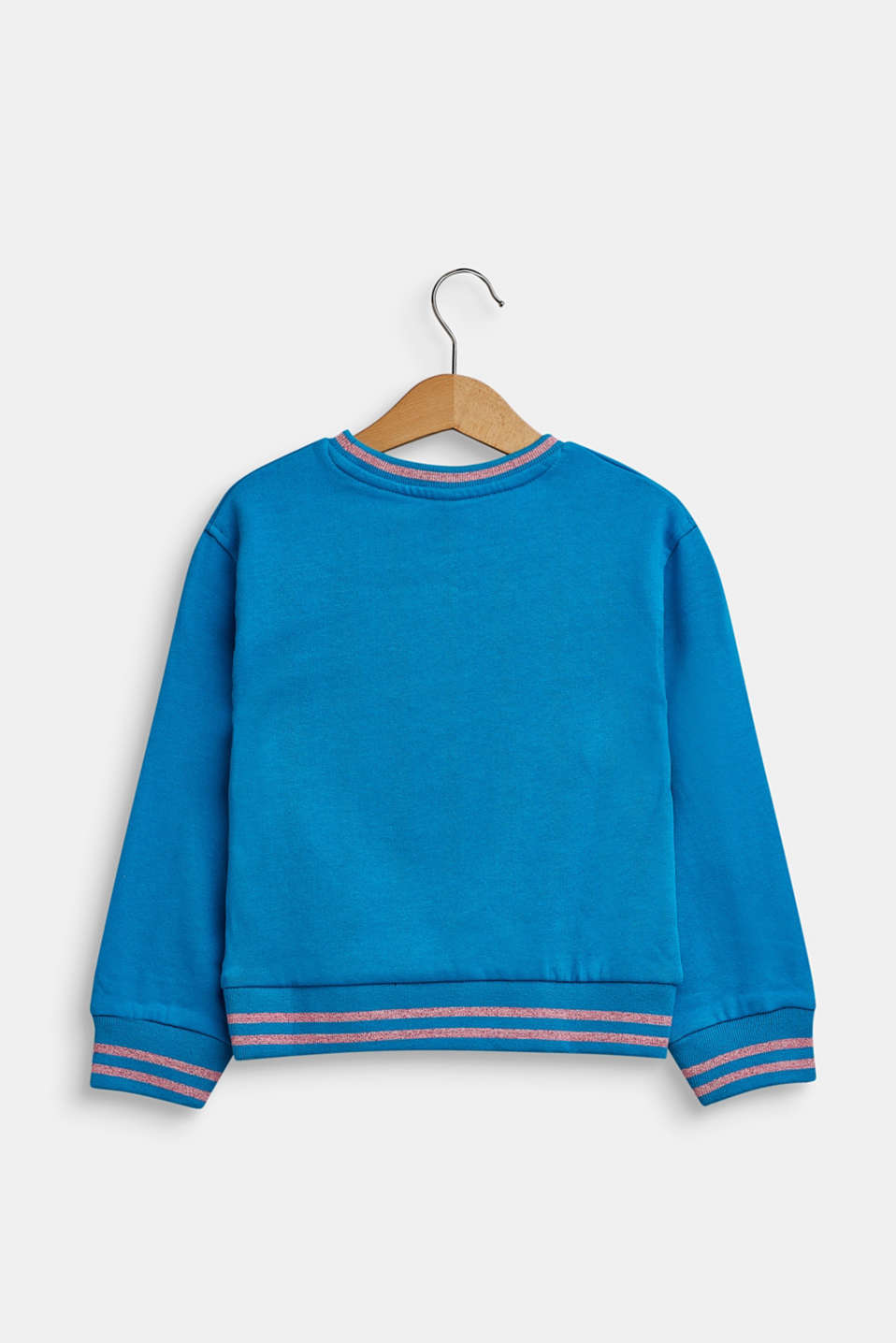 Sweatshirt in 100% cotton, TURQUOISE, detail image number 1