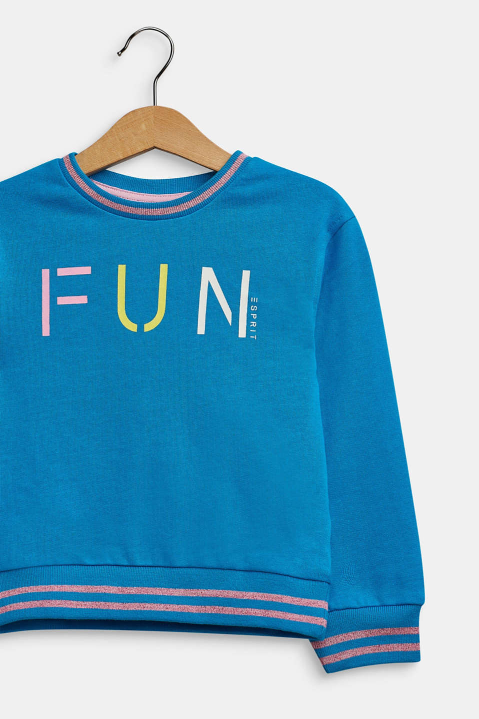 Sweatshirt in 100% cotton, TURQUOISE, detail image number 2