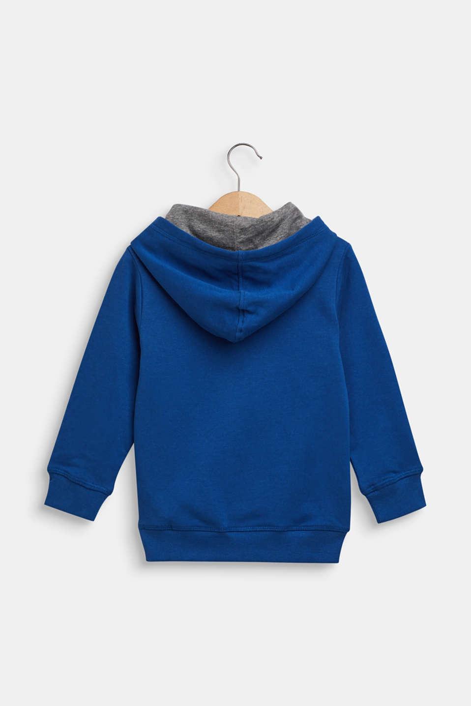 Hoodie with llama print, 100% cotton, indigo, detail image number 1