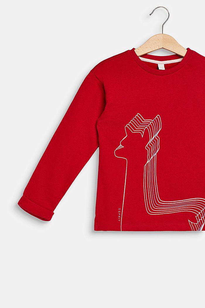 Sweatshirt with llama print, 100% cotton, TIBETAN RED, detail image number 2