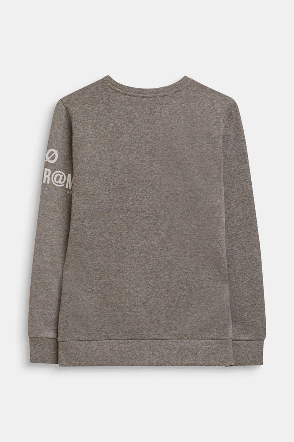 Sweatshirt with print and a zip detail, LCDARK HEATHER G, detail image number 1