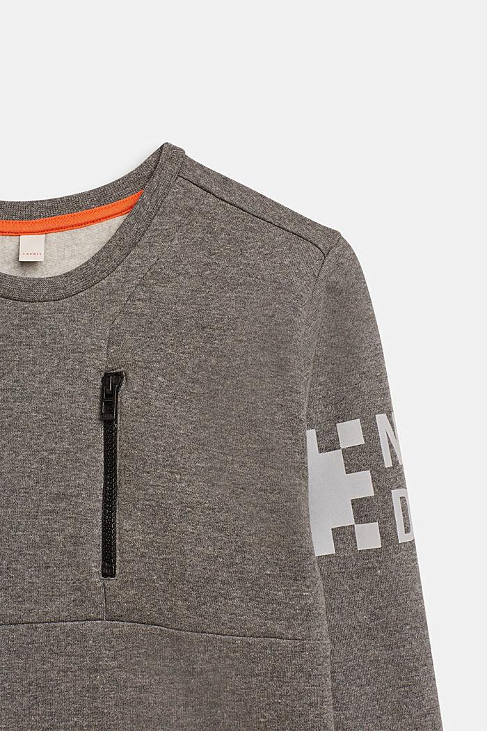 Sweatshirt met print en ritsdetail, LCDARK HEATHER G, detail image number 2