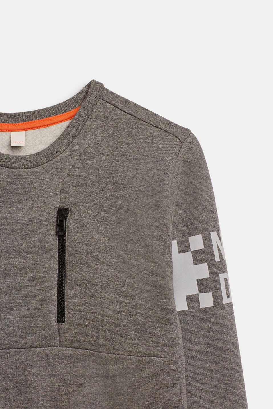 Sweatshirt with print and a zip detail, LCDARK HEATHER G, detail image number 2
