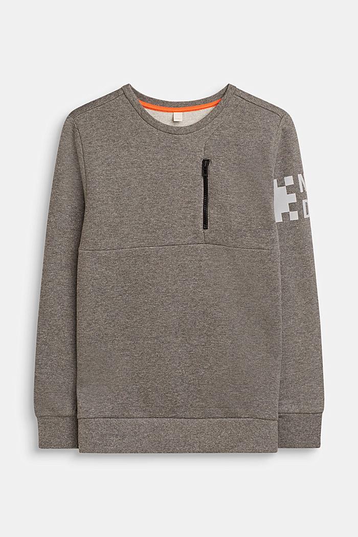 Sweatshirt met print en ritsdetail, LCDARK HEATHER G, detail image number 0