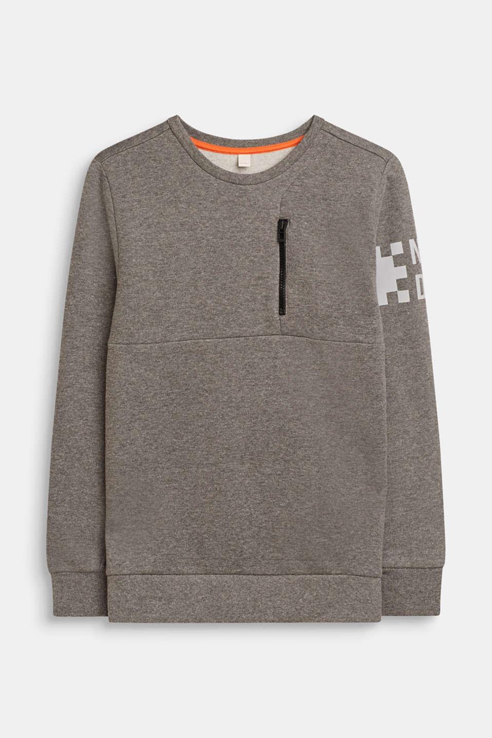 Sweatshirt with print and a zip detail, LCDARK HEATHER G, detail image number 0