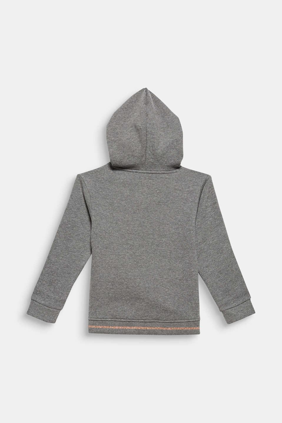 Sweatshirt fabric hoodie with glitter details, DARK HEATHER G, detail image number 1