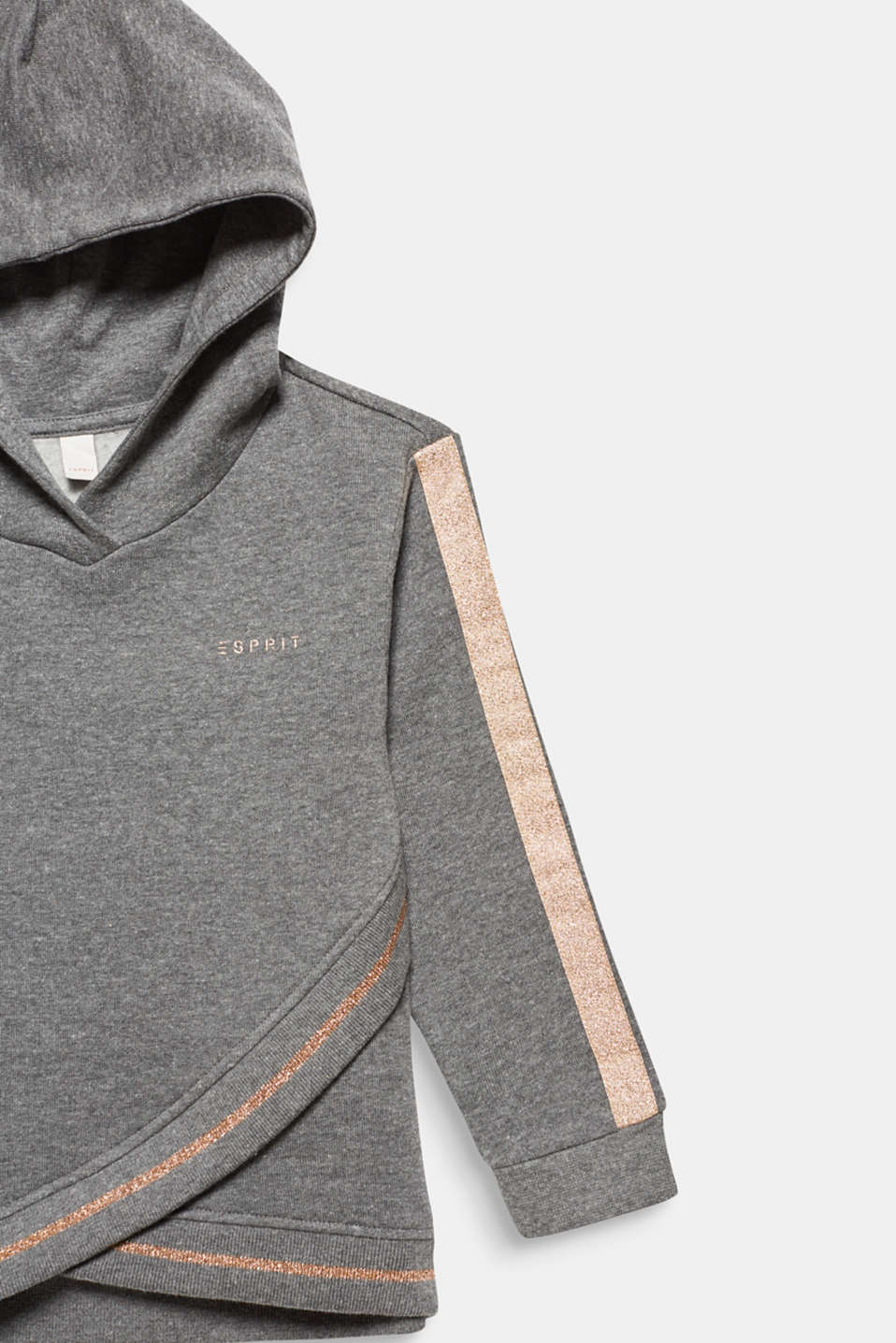 Sweatshirt fabric hoodie with glitter details, DARK HEATHER G, detail image number 2