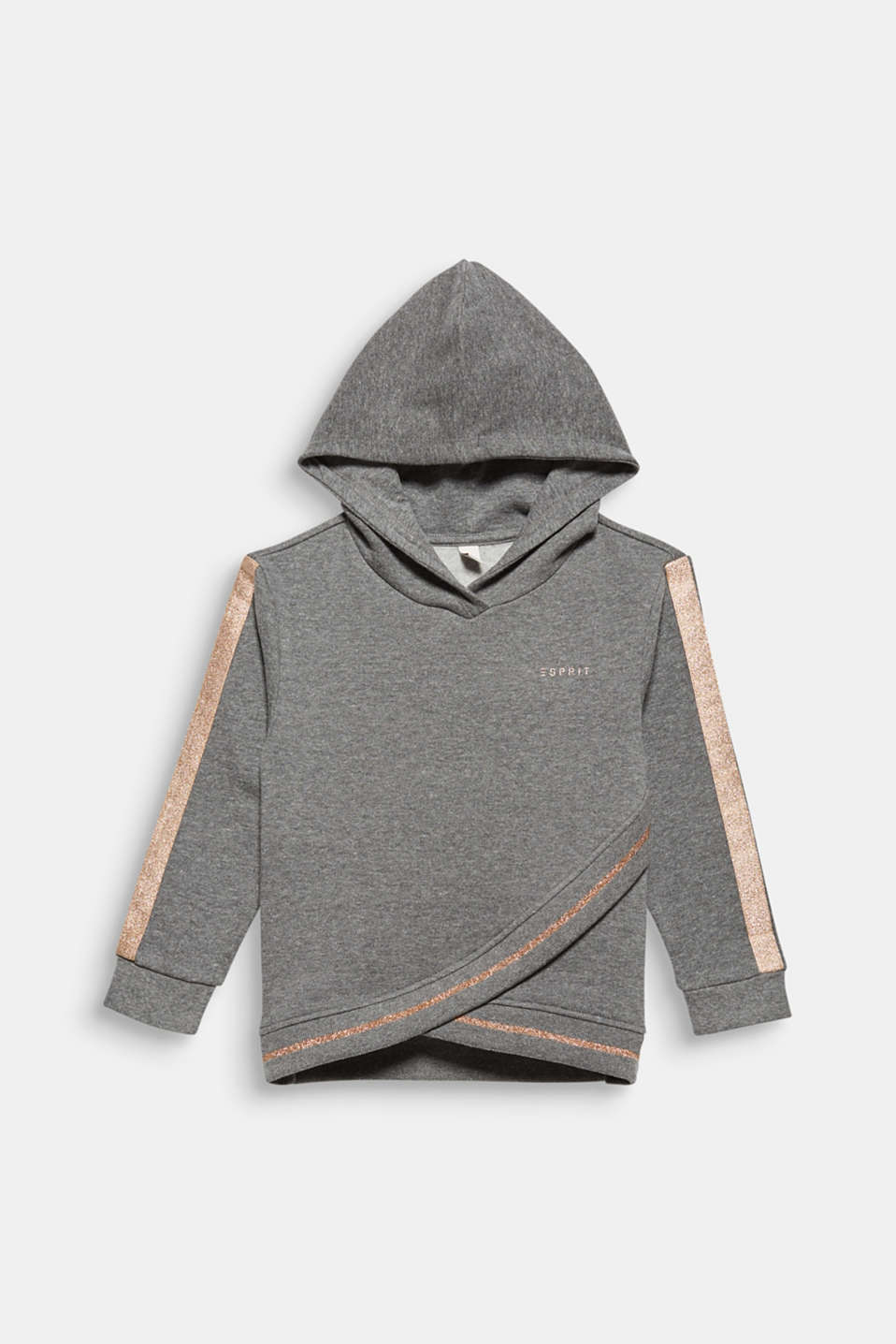 Sweatshirt fabric hoodie with glitter details, DARK HEATHER G, detail image number 0
