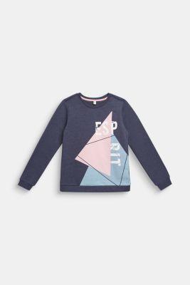 Logo sweatshirt in blended cotton, LCMIDNIGHT BLUE, detail