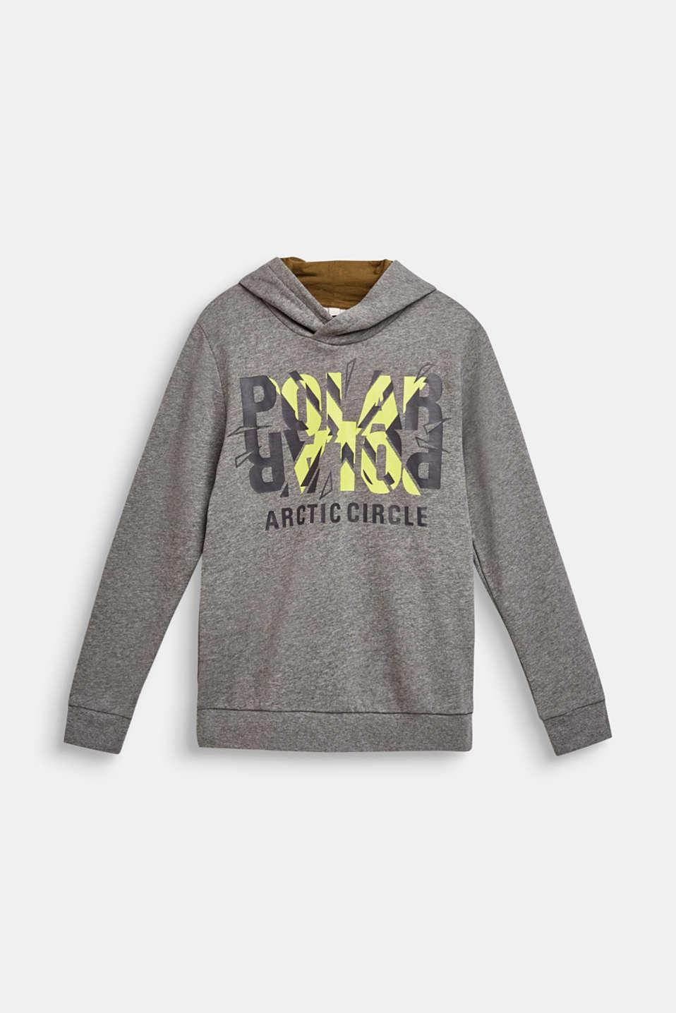 Cotton blend hoodie, LCDARK HEATHER G, detail image number 0