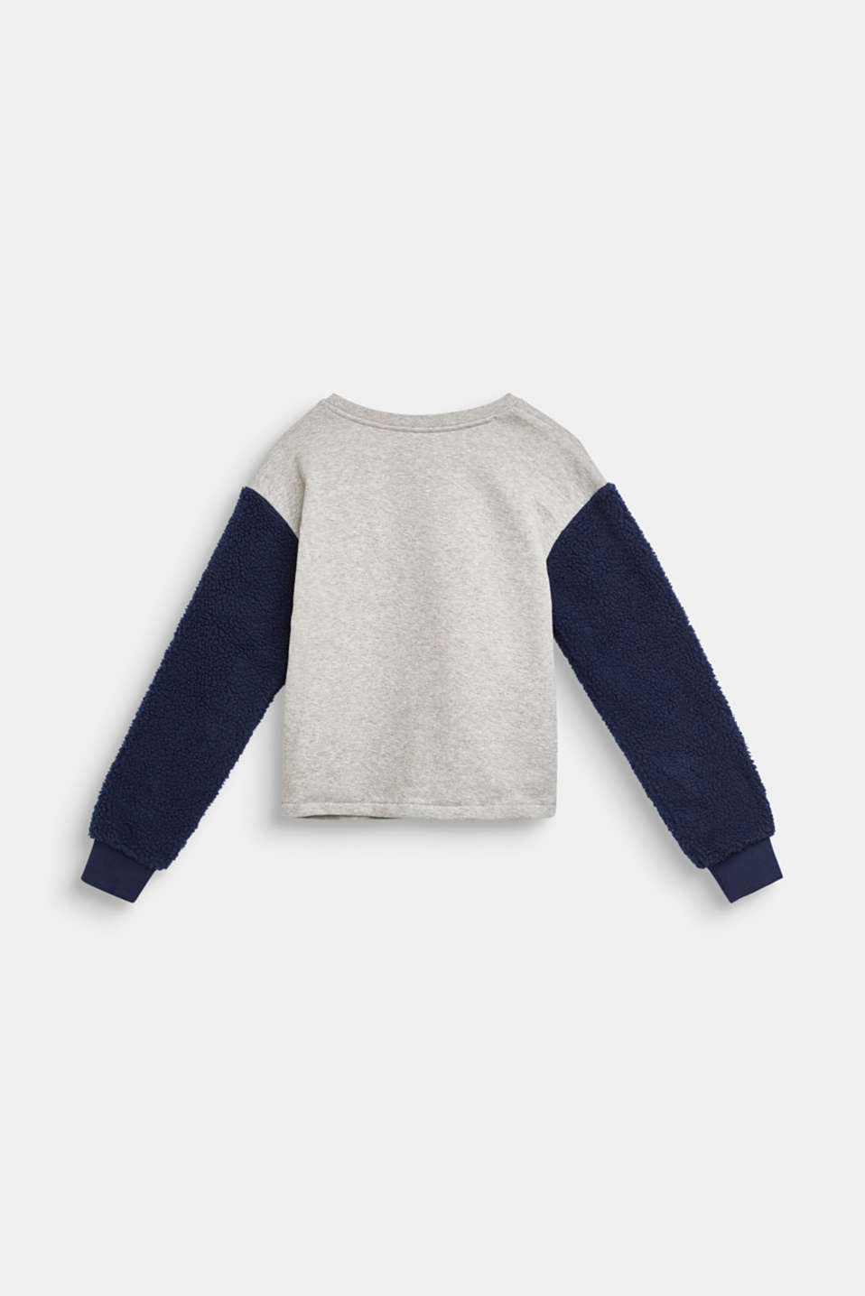 Sweatshirt with teddy fur sleeves, LCMID HEATHER GR, detail image number 1