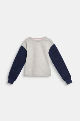 Sweatshirt with teddy fur sleeves, LCMID HEATHER GR, detail
