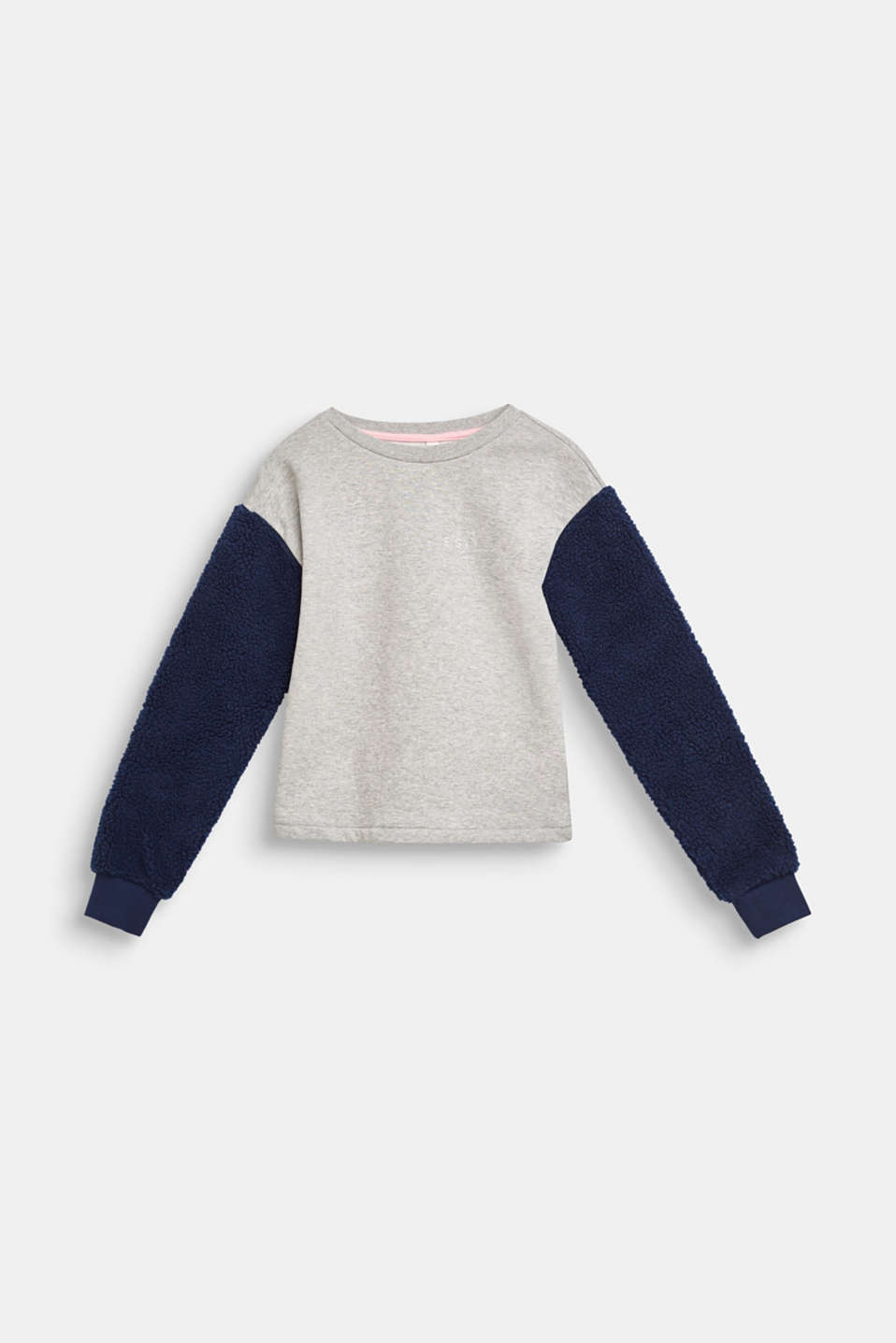 Sweatshirt with teddy fur sleeves, LCMID HEATHER GR, detail image number 0