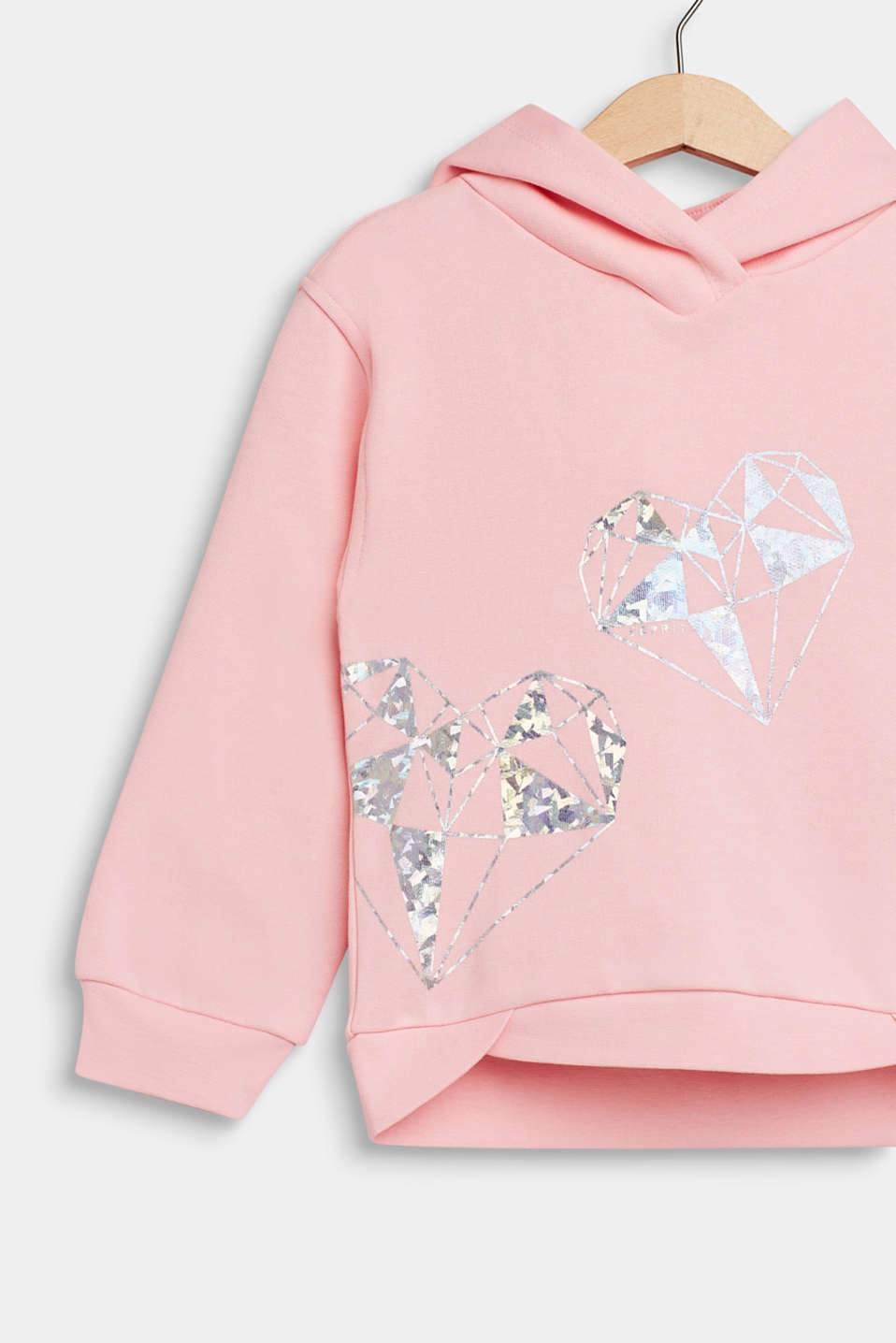 Hoodie with shiny print, 100% cotton, LIGHT PINK, detail image number 2