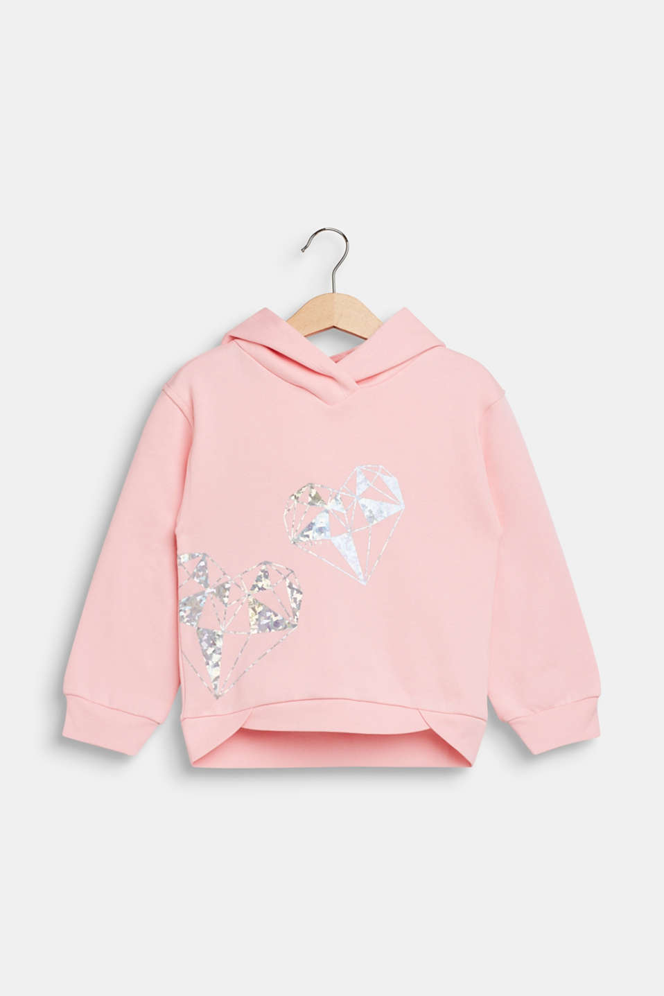 Hoodie with shiny print, 100% cotton, LIGHT PINK, detail image number 0