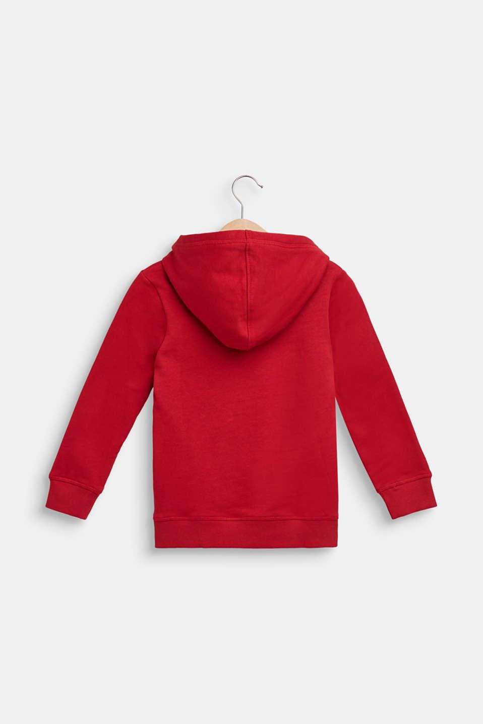 Hoodie with logo print, 100% cotton, DARK RED, detail image number 1