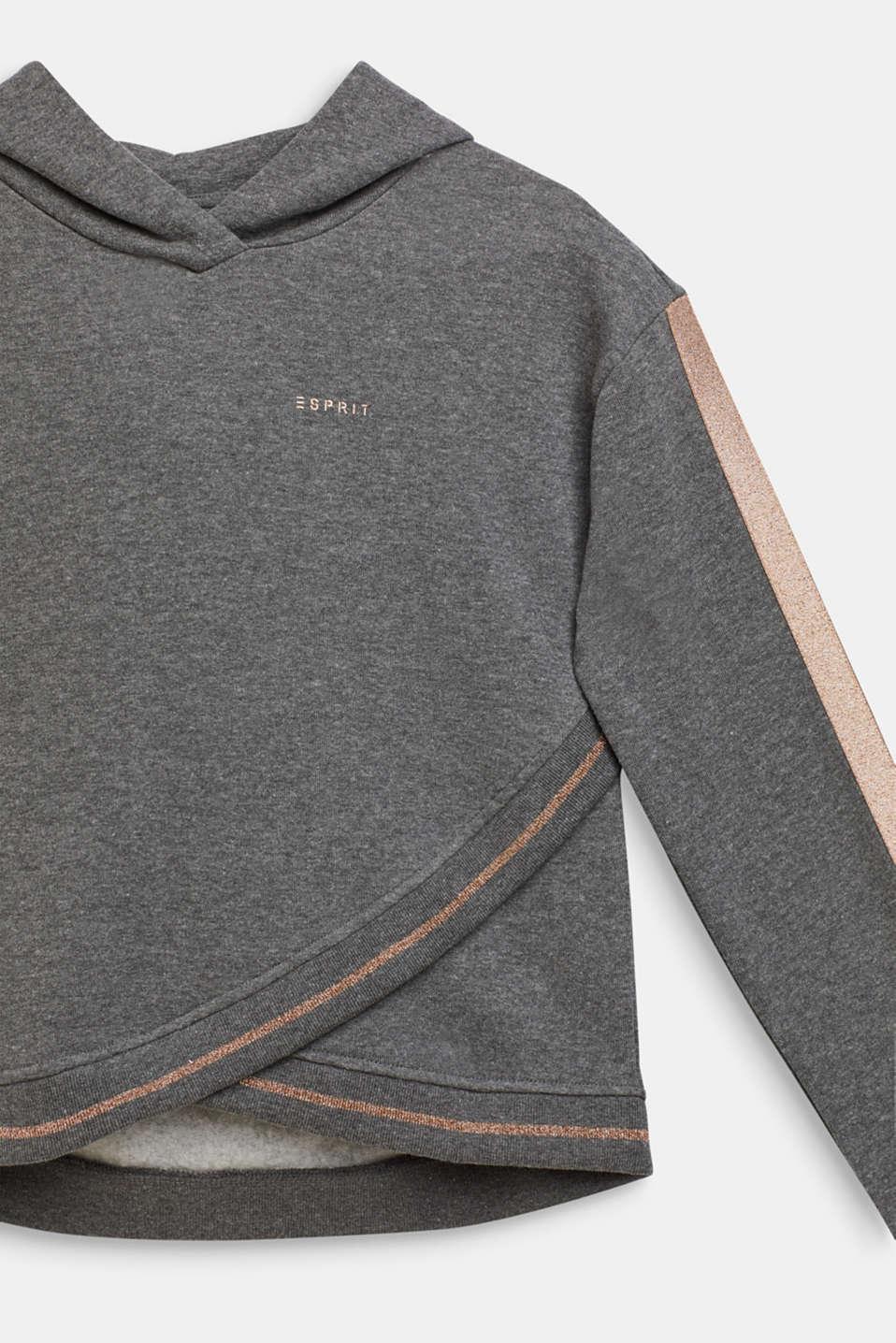 Sweatshirt fabric hoodie with glitter details, LCDARK HEATHER G, detail image number 2