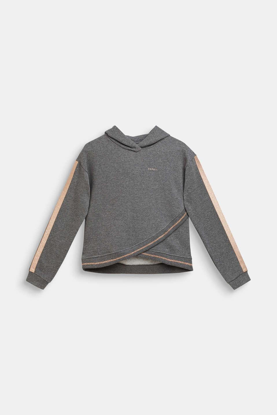 Sweatshirt fabric hoodie with glitter details, LCDARK HEATHER G, detail image number 0