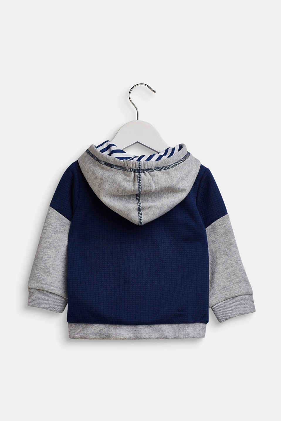 Mixed material sweatshirt cardigan, LCMARINE BLUE, detail image number 1