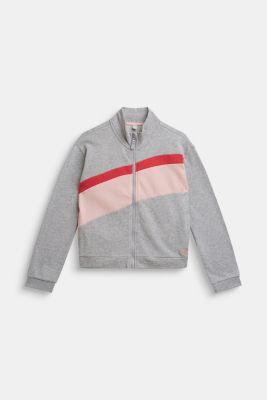 Colour block cardigan, 100% cotton, LCHEATHER SILVER, detail