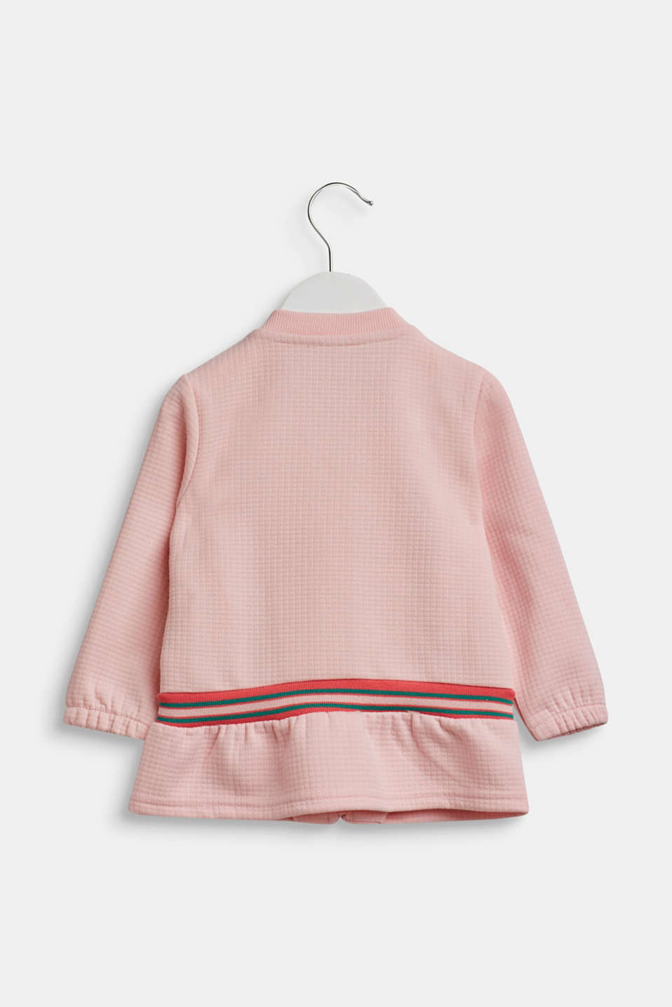 Sweatshirt cardigan with contrasting stripes, TINTED ROSE, detail image number 1