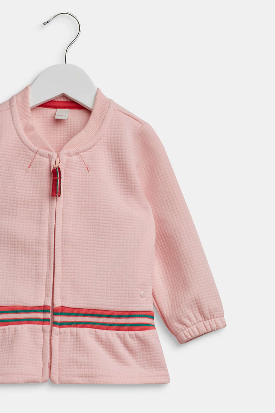 Sweatshirt cardigan with contrasting stripes, TINTED ROSE, detail image number 2
