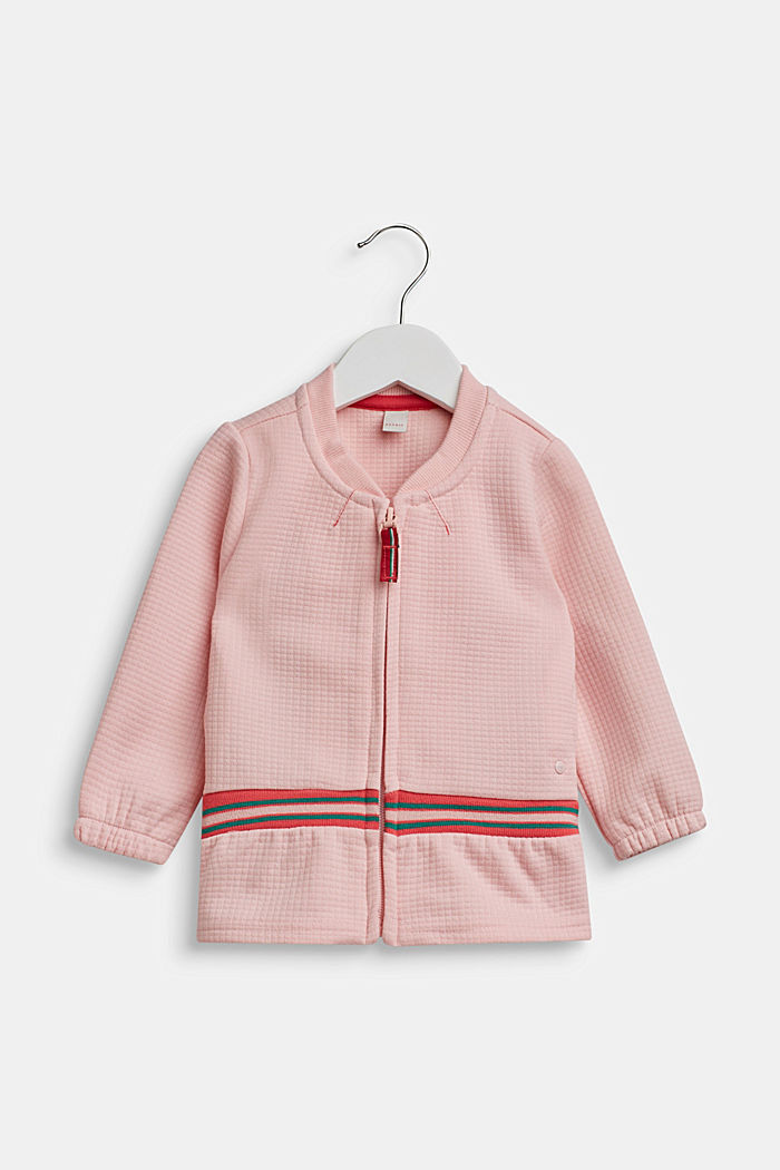 Sweatshirt cardigan with contrasting stripes, TINTED ROSE, detail image number 0