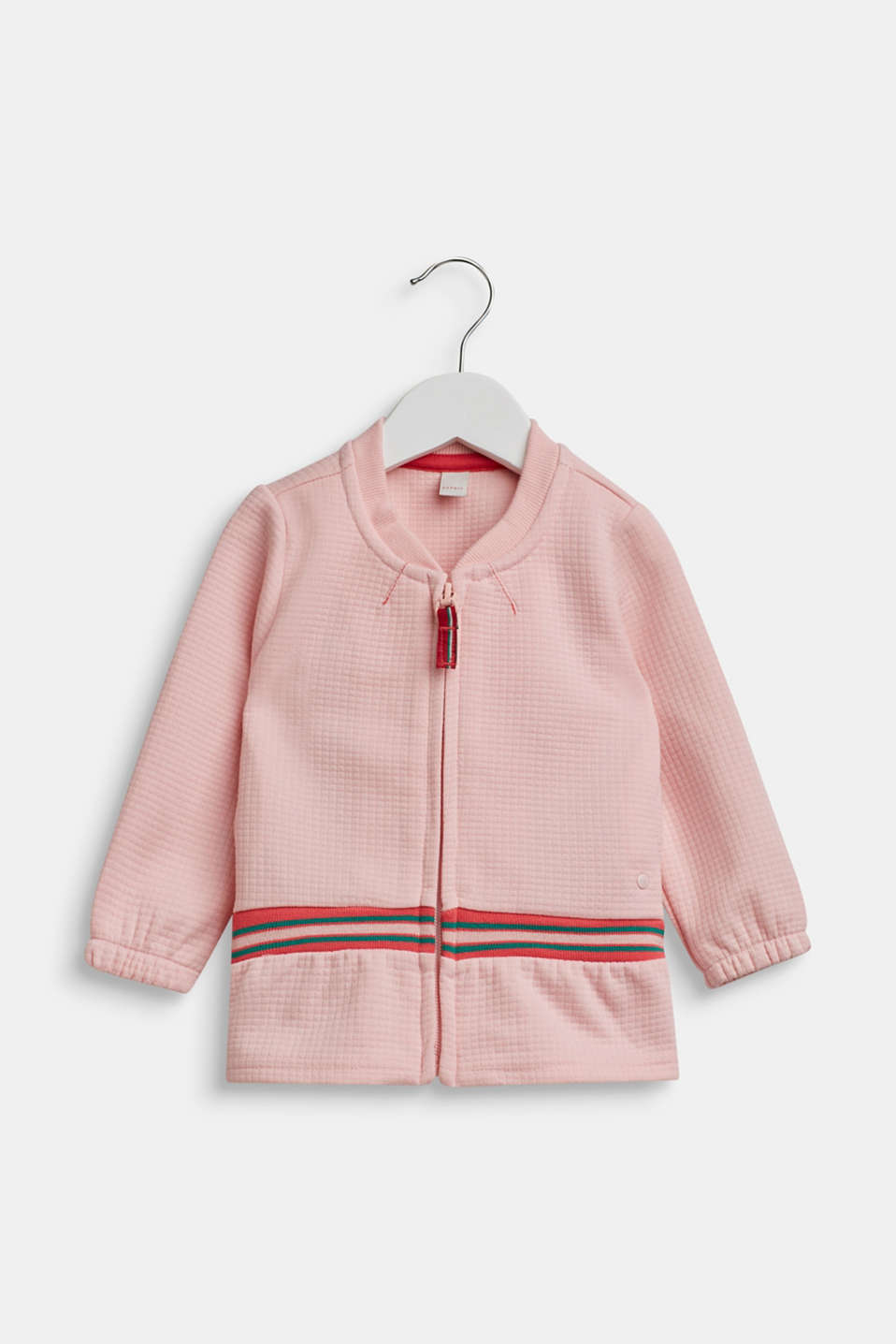 Sweatshirt cardigan with contrasting stripes, LCTINTED ROSE, detail image number 0