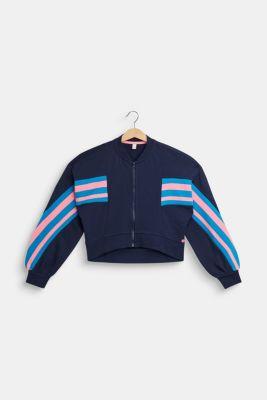 Cropped sweatshirt jacket, 100% cotton, LCNAVY, detail