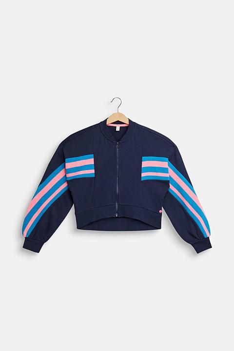 Cropped sweatshirt jacket, 100% cotton
