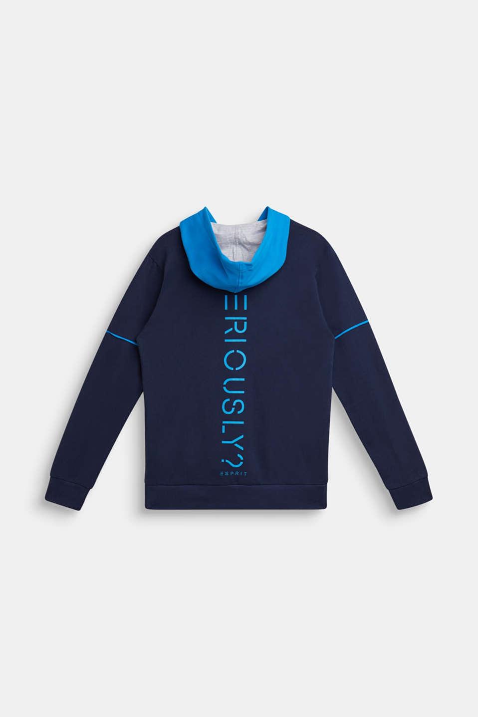 Sweatshirt cardigan with hood and print, LCNAVY, detail image number 1