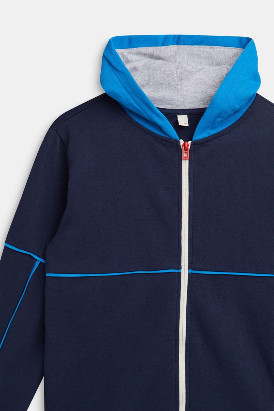 Sweatshirt cardigan with hood and print, LCNAVY, detail image number 2