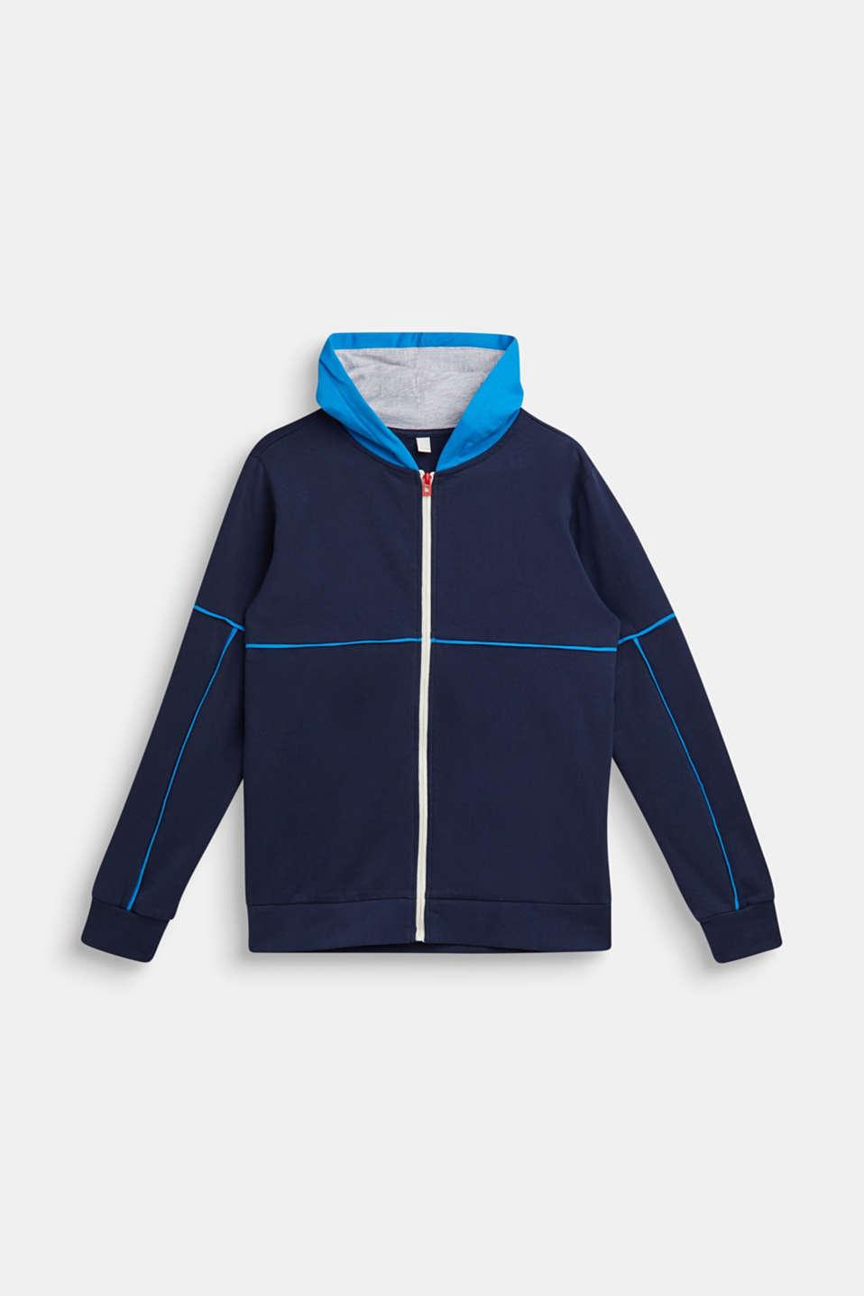 Sweatshirt cardigan with hood and print, LCNAVY, detail image number 0