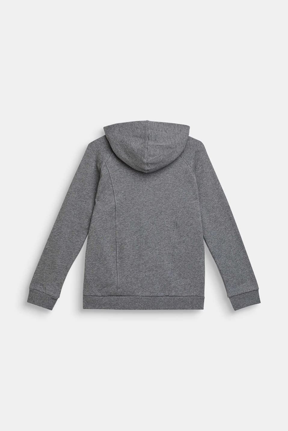 Sweatshirt fabric cardigan with shiny details, 100% cotton, LCDARK HEATHER G, detail image number 1