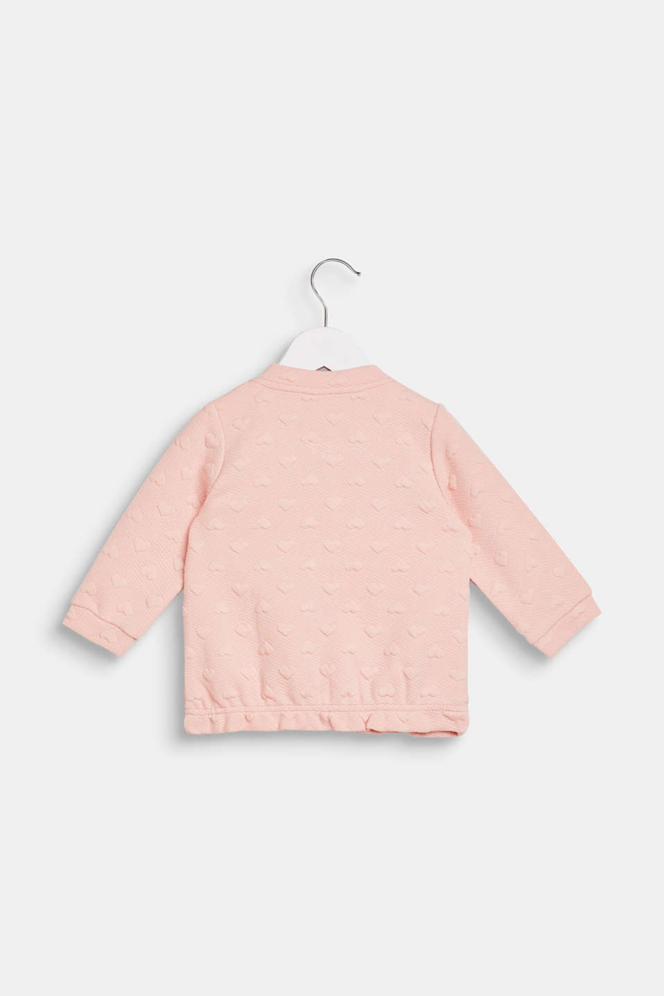 Sweatshirt fabric cardigan with a heart-shaped texture, LCLIGHT BLUSH, detail image number 1